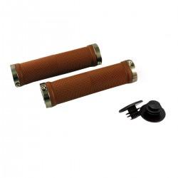 Chwyty rowerowe BRĄZOWE - CLARKS - 128mm skręcane