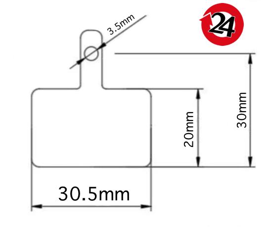 wymiary klocka shimano B01S
